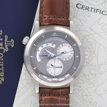Jaeger-LeCoultre Master Geographic pre-owned 38.1mm Grey Date Year GMT Crocodile skin