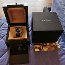 Zenith El Primero 36'000 VpH pre-owned Black Chronograph Date Crocodile skin
