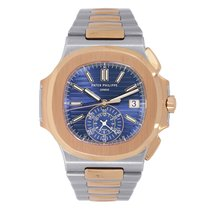 Patek Philippe Nautilus Steel & Rose Gold Watch Blue Dial...