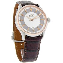Oris Artelier Mens Brown Leather Swiss Automatic Watch...
