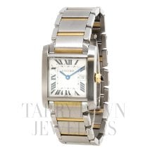 Cartier Tank Française pre-owned 25mm Champagne Date Gold/Steel
