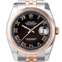 Rolex Datejust 36 mm Edelstahl Roségold Ref. 116201 Schwarz R JUB