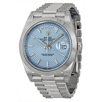 Rolex DAY-DATE 40 Platinum President Ice Blue Index Watch 228206