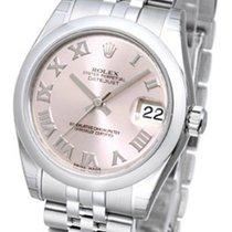 Rolex Datejust 31 Pink Dial Roman Markers Domed Jubilee Steel...
