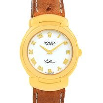 Rolex Cellini 18k Yellow Gold White Dial Brown Strap Ladies...