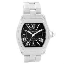 Cartier Roadster Black Dial Large Steel Watch W62041v3 Box Strap