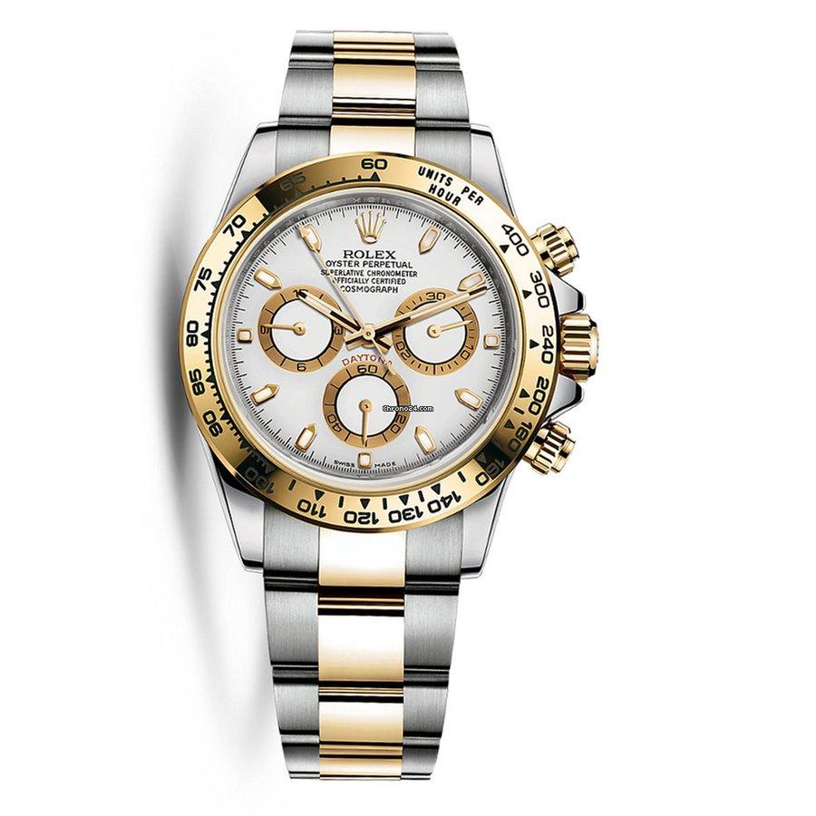 Rolex Daytona Steel 18k Yellow Gold White Dial Watch 116503