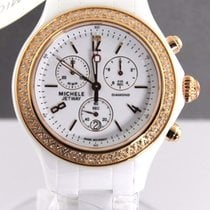 Michele Ladies Jetway Mww17b000008 Ceramic Diamond Rose Gold...