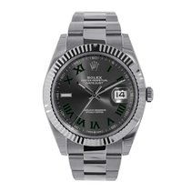 Rolex Datejust 41 Steel & White Gold Grey Green Roman Dial 126334
