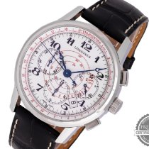 Longines Heritage pre-owned 41mm White Chronograph Date Crocodile skin