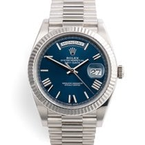 Rolex Day-Date 40 White gold 40mm Blue Roman numerals