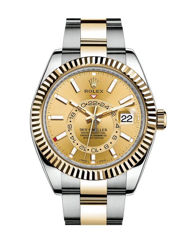 Rolex Sky,Dweller Steel and 18kt Yellow Gold Champagne Dial