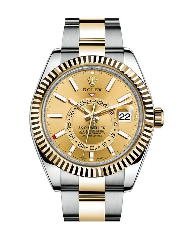 Rolex Sky-Dweller Steel and 18kt Yellow Gold Champagne Dial