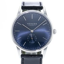 NOMOS Orion 38 pre-owned 38mm Blue Leather