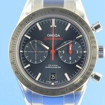 Omega Speedmaster '57 gebraucht 41.5mm Blau Chronograph Datum Stahl