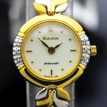 Bulova Ambassador Ladies Swiss Gold Plated Diamond Dress Watch...