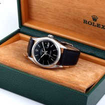 Rolex 36mm SS DATEUST Matte Black Dial Leather Strap w/ Rolex Box