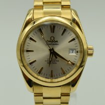 Omega Yellow gold Automatic Silver No numerals 36mm pre-owned Seamaster Aqua Terra