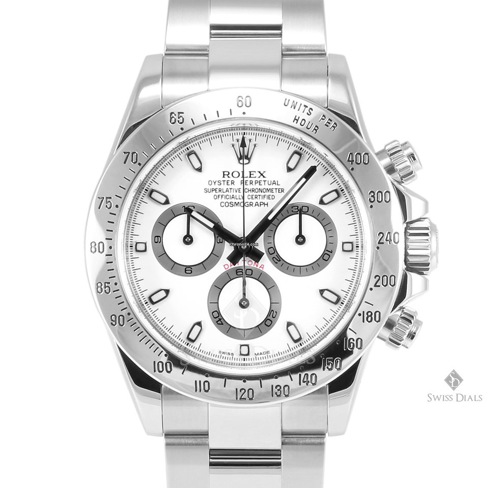 Rolex Daytona Stainless Steel White Dial Tachymeter Engraved Bezel Oyster Band New Style