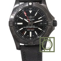 Breitling Avenger II GMT Black Steel 43mm Anthracite Textile...