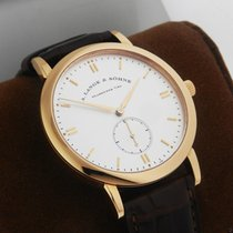 A. Lange & Söhne Rose gold Automatic Silver No numerals 38.5mm new Saxonia