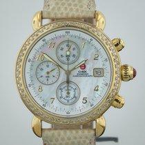 Michele CSX Chronograph, MOP Dial, Diamond Bezel, Gold Plated