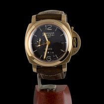 Panerai Luminor 1950 8 Days GMT pre-owned 44mm Brown Date GMT Leather