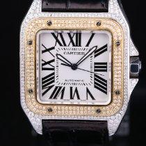 Cartier Santos 100 Gold/Stahl 38mm Weiß Römisch Deutschland, Rosenheim