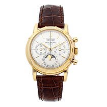 Patek Philippe Yellow gold Manual winding Silver No numerals 36mm pre-owned Perpetual Calendar Chronograph