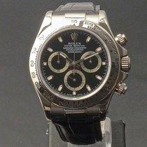 Rolex White gold Automatic Black No numerals 40mm pre-owned Daytona