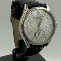 Rolex Cellini Dual Time Bílé zlato 39mm Bílá Bez čísel