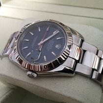 Rolex Oyster Datejust Turnograph White Gold Bezel Blue Dial 36 mm