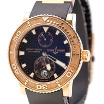 Ulysse Nardin Rose gold Automatic Black No numerals 40mm pre-owned Maxi Marine Diver