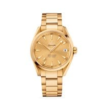 Omega Yellow gold Automatic Champagne 38.5mm new Seamaster Aqua Terra