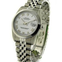 Rolex Used 78274 Steel Mid Size - Smooth Bezel - White Roman Dial