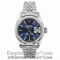 Rolex Date 69240 Stainless Steel Blue Dial 18k White Gold...