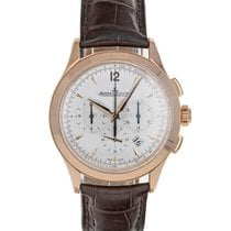 Jaeger-LeCoultre Master Chronograph pre-owned 40mm Silver Crocodile skin