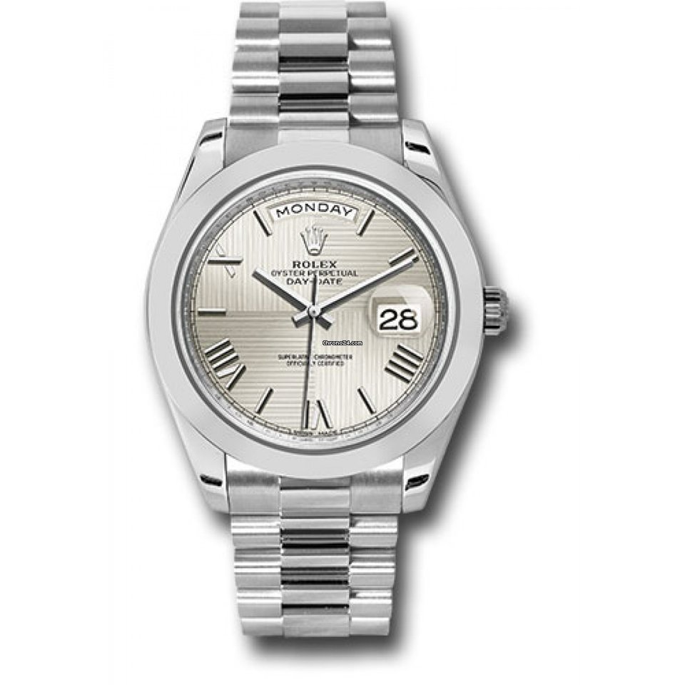 315517ddbc4 Rolex Unused Rolex Men s 40mm President Model 228206 Platinum Presidential  New Style Heavy Band Silver Quadrant Motif Dial With Roman Markers   A  Smooth ...
