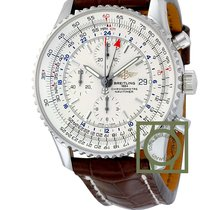 Breitling Navitimer World Silver Dial Brown Croco Leather Strap
