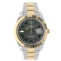Rolex DATEJUST II 41mm 18K Yellow Gold Green Roman Dial