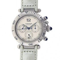 Cartier Pasha W31030H3 Stainless Steel White Leather Chronogra...