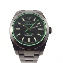Rolex Oyster Perpetual Milgauss Green Custom DLC coated