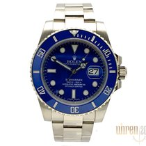 Rolex Submariner Date Witgoud 40mm Blauw Geen cijfers