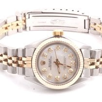 Rolex Ladies 2tone Oyster Perpetual Watch - MOP Diamond Dial -...