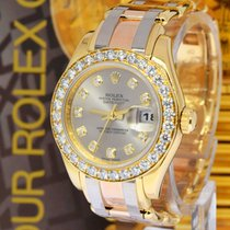 Rolex Pearlmaster Tridor 18K Gold & Diamond Watch Z Box/Papers...