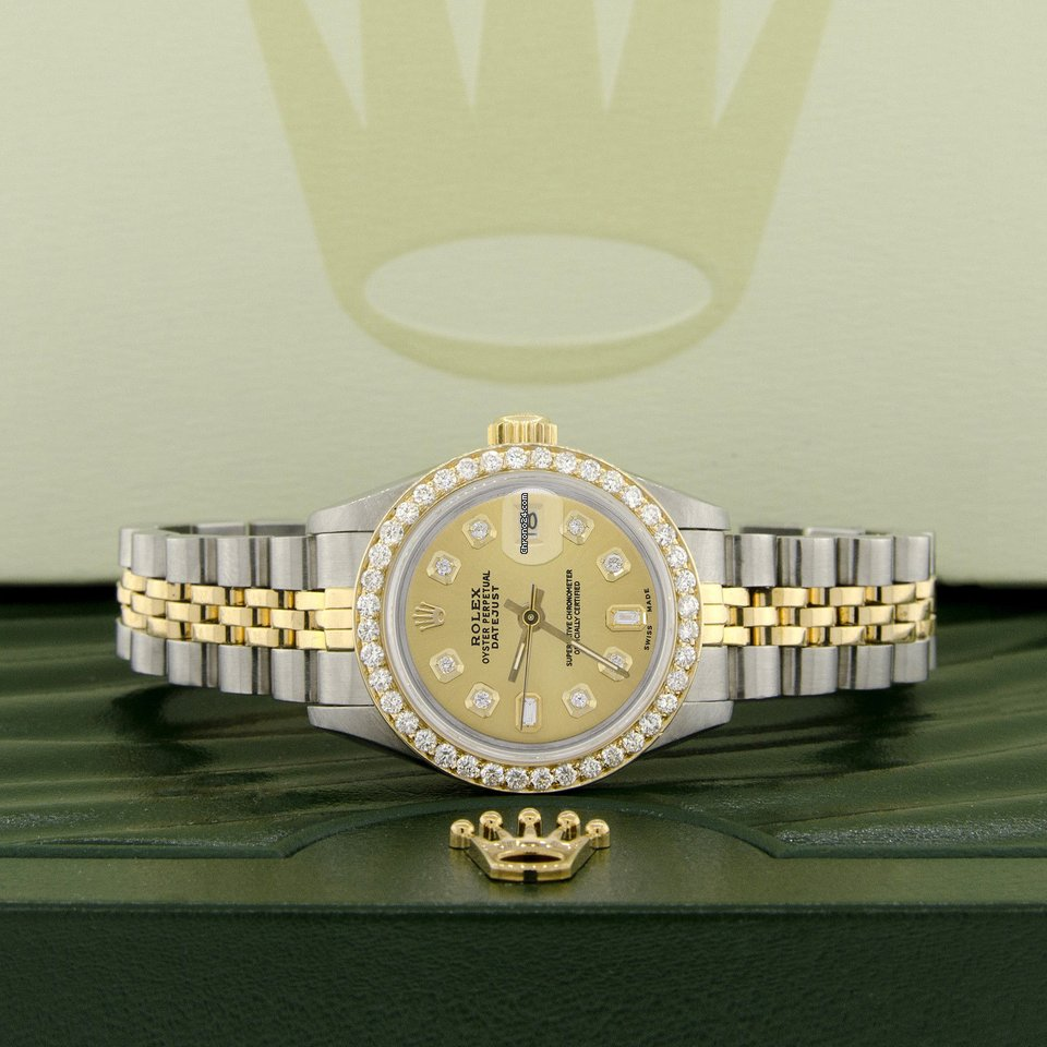 Rolex Datejust Ladies 2 Tone Gold Steel 26mm Watch Champagne Diamond Dial Bezel