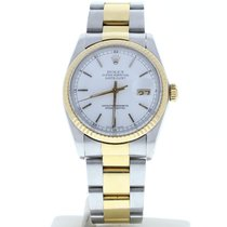 Rolex Datejust 16013 Steel & Gold Oyster Band White Stick Dial...