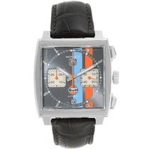 TAG Heuer Monaco Calibre 12 pre-owned 39mm Orange Chronograph Date Leather