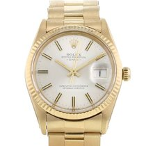 Rolex Oyster Perpetual Date Gulguld 34mm Silver Inga siffror