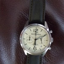Bell & Ross BR126 Beige Vintage Chronograph Brown Leather Strap